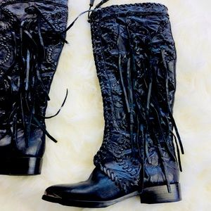 Palermo Fringe Black Leather Tall Boot 6.5 (EUC)